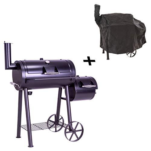 Nexos BBQ Grill Smoker Grillwagen Holzkohlegrill 2 Kammern Barbecue 125x60x120 cm 28 kg Transporträder Temperaturanzeige inkl. Schutzplane Abdeckung