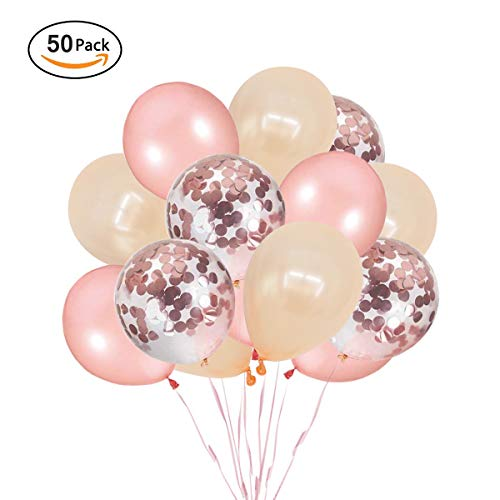 Ohighing 50 Stück Luftballons Rose Gold Konfetti Helium Ballons für Hochzeit Mädchen Kinder Geburtstag Party Deko (Rosegold + Champagner Gold) 30cm