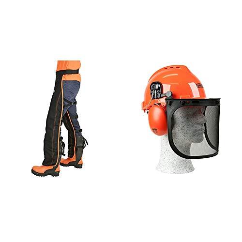 Oregon - Perneras de Seguridad Tipo A Universales para uso con motosierra + 562412 Yukon - Casco de seguridad con protector para cara
