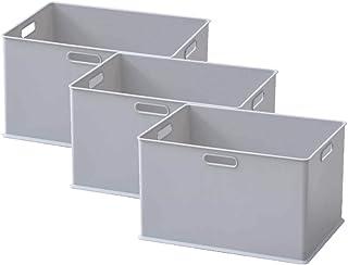 山善 収納ボックス ふた付き Sサイズ カラーボックス対応 持ち手つき 完成品 グレー SQB-L+PML(YGY)