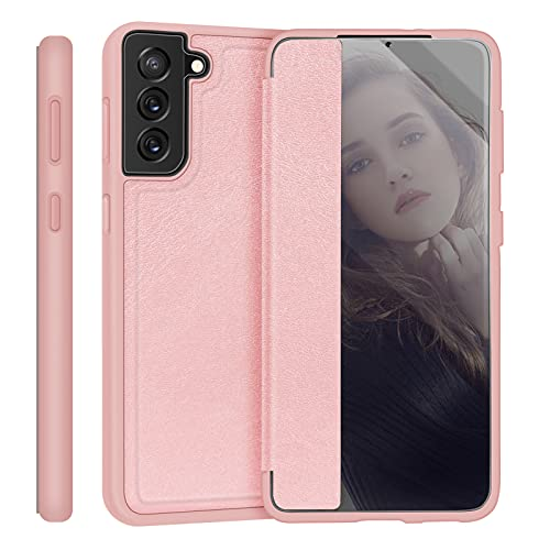 """Skycase Galaxy S21 Plus Case 6.7"""", [Anti Scratch][Shock Absorption],Slim Flip Phone Case Designed with Window View Function for Samsung Galaxy S21 Plus 6.7"""" 5G 2021,Rose-Gold"""
