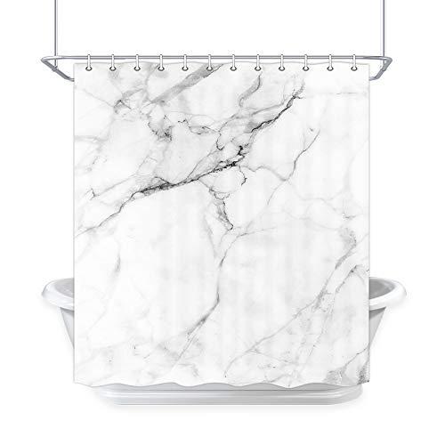 DYNH Marmor-Duschvorhang für Badezimmer, Marmor-Maserung, Keramik-Effekt, Weiß & Grau, Crack-Ziegel-Design, Duschvorhänge, Stoff, Badezimmer-Accessoires, 12 Stück Duschhaken, 177,8 x 177,8 cm