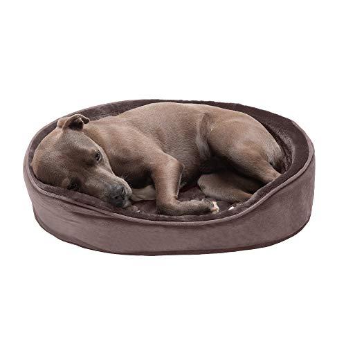 Furhaven Haustier-Hundebett, rund, oval, Plüsch, Kunstfell und Samt, orthopädischer Schaumstoff, Liege, Haustierbett für Hunde und Katzen, Treibholz, braun, groß