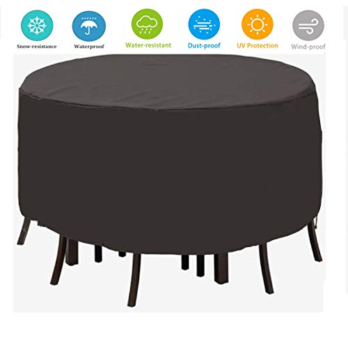 TTWOW Fundas Impermeable de Muebles de Jardin para Mesa Funda Cubierta 210D Poliéster Resistente al Polvo Funda Protectora Ronda, Negro(128 * 71)