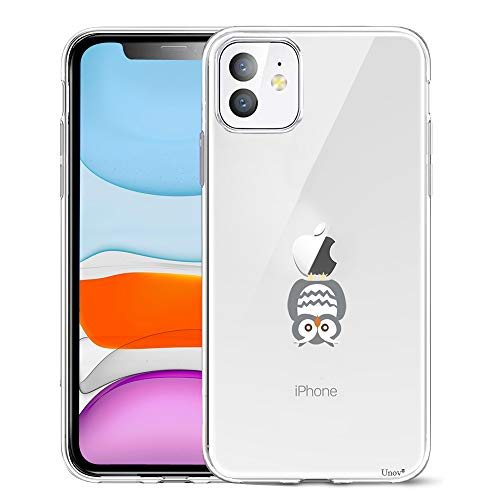 Unov Case Compatible with iPhone 11 Clear with Design Slim Protective Soft TPU Bumper Embossed Pattern 6.1 Inch (Owl)