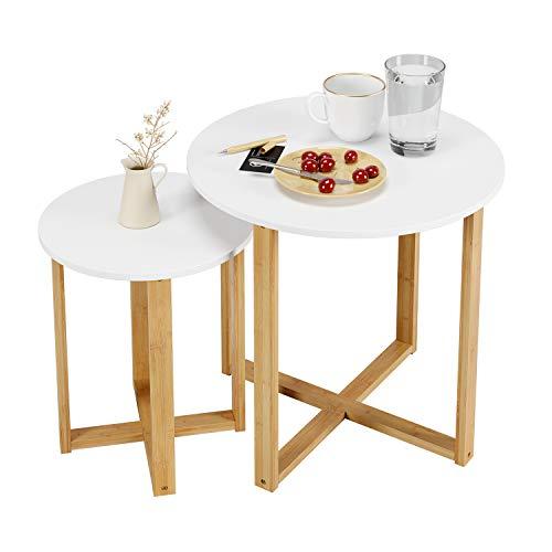 Homfa 2X Beistelltisch Nachttisch Couchtische Wohnzimmertisch Sofatische klein rund Tisch Set Weiß Groß (60x60x60cm) Klein (40x50x40cm)
