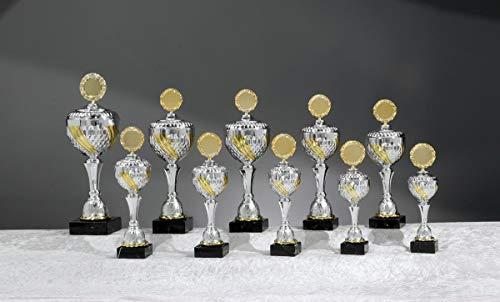 Henecka Pokal Serie Blanca, Silber-Gold, mit Wunschgravur und auswählbarem Sport-Emblem, Größe 40 cm