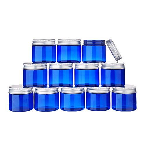BENECREAT 12 Pack 50ml Tarro Azul de Crema de Cosméticos Botella de Plástico de Viaje con Tapa de Aluminio Contenedor Vacío Rellenable de Maquillaje