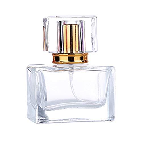 Homeofying Mini-Sprühflasche, 30 ml, klares Glas, tragbar, für Reisen, Kosmetik, leer Zerstäuber mit Sprühkopf, Pumpflasche, Glas, goldfarben, 30 ml