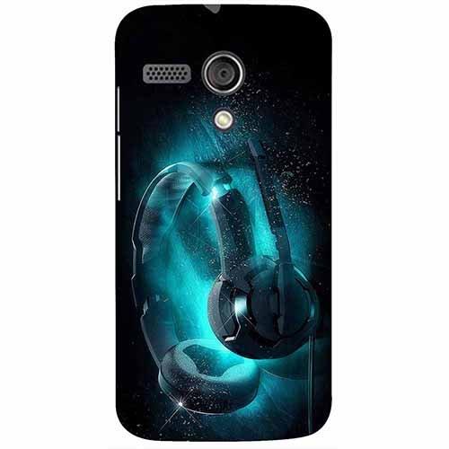 Casotec Cool Headphone Design 3D Printed Hard Back Case Cover for Motorola Moto G 1st Generation