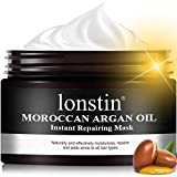 Hair Mask, lonstin Argan Oil Hair Mask for Dry Damaged Hair, Sulfate Free Deep Conditioner for Curly, Color Treated & Bleached Hair, Hydrating Repair Mask for Men & Women -10.14 fl oz
