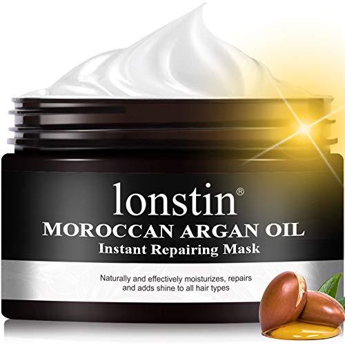 Lonstin Moroccan Argan Oil Máscara reparadora instantánea, tratamiento de reparación del cabello para cabello dañado, adelgazamiento 10.14 onzas (10.14 onzas líquidas)