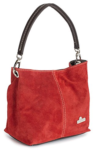 BIG HANDBAG SHOP - Mini borsetta a spalla, da donna, modello shopper/hobo, in pelle scamosciata italiana, talpa, Rosso ((Sale) Red), Taglia unica