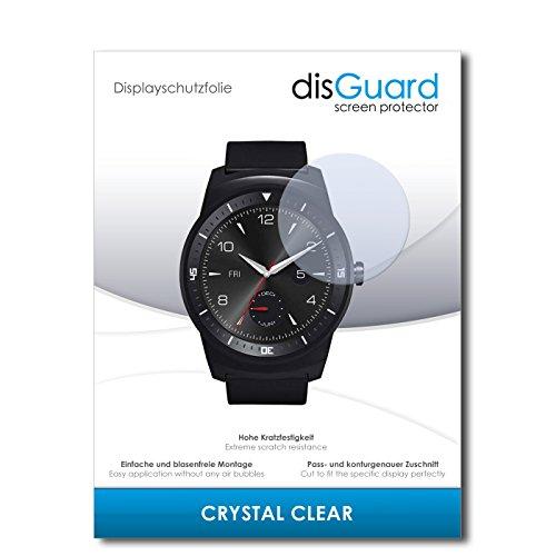 disGuard Displayschutzfolie für LG G Watch R [2 Stück] Crystal Clear, Kristall-klar, Unsichtbar, Extrem Kratzfest - Displayschutz, Schutzfolie, Glasfolie, Panzerfolie