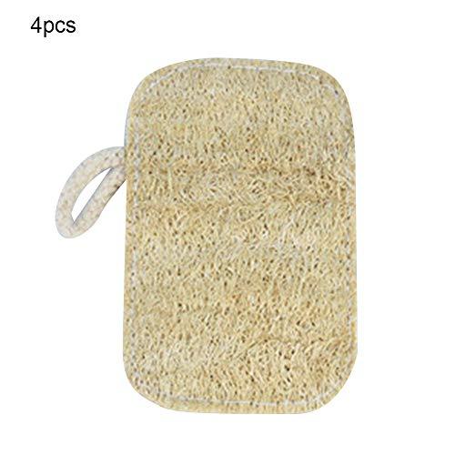 FOReverweihuajz 4 Stks Verdikte Anti-Olie Natuurlijke Loofah Schoonmaken Sponge Schaal Handdoek Keuken Gereedschap Afwasdoek Scrub Pad Beige