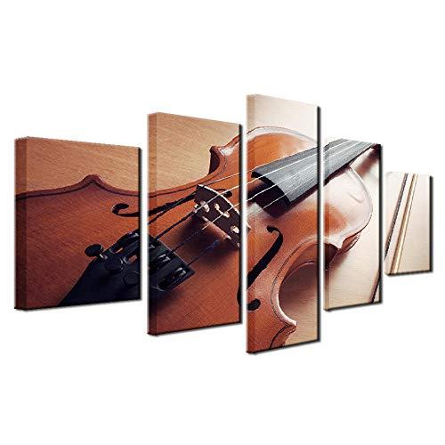 Cuadro sobre Lienzo 5 Piezas Imagen Foto HD Enmarcado Instrumento musical 150×80cm Alta Calidad No se Desvanecen Moderno Decoracion de Pared Sala de Estar Dormitorio