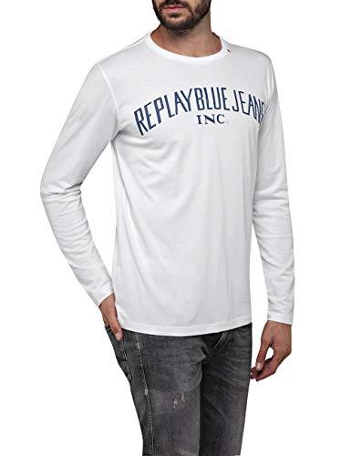 REPLAY M3008 .000.2660 Camisa Manga Larga, Blanco (White 1), X-Small para Hombre