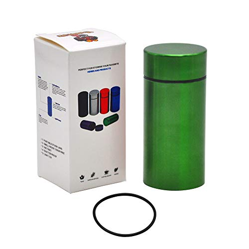 Stash Jar - Airtight Water Proof/ Smell Proof Aluminum Herb Container Bottle (GREEN)