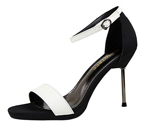 T&Mates Womens Summer Fashion Sexy Open Toe Ankle Strap High Thin Heels Sandals Dress Party Shoes (7 B(M) US,White)