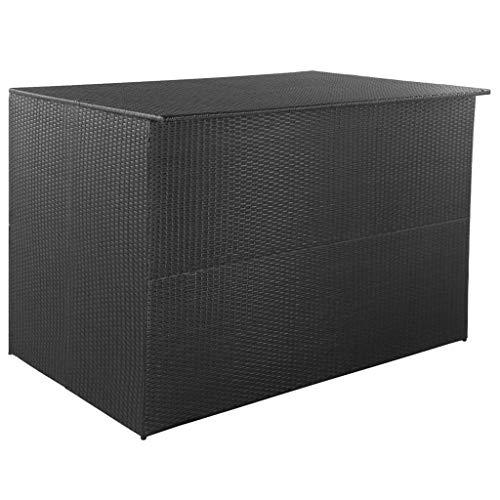 vidaXL Boîte de Rangement d'Extérieur Résine Tressée Noir Coffre de Stockage