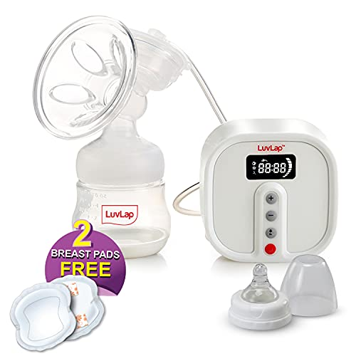 LuvLap Electric Breast Pump with 3 Phase Pumping, Rechargeable Battery, Manual Convertible Kit, Soft & Gentle, BPA Free
