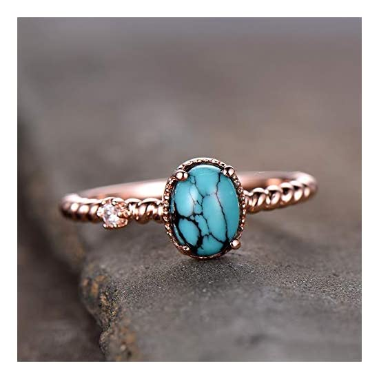 Turquoise Ring Turquoise Engagement Ring Vintage Solitaire Ring Twist Wedding Band CZ 5x7mm Oval Silver Rose Gold Plated