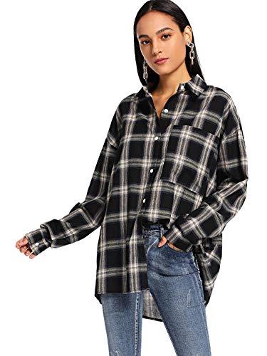 DIDK Damen Kariertes Hemd Blusen Karo Muster Overshirt mit Plaid Boyfriend Hemdbluse Karohemd Button-down Langarm Blusenshirt Freizeit Schwarz M