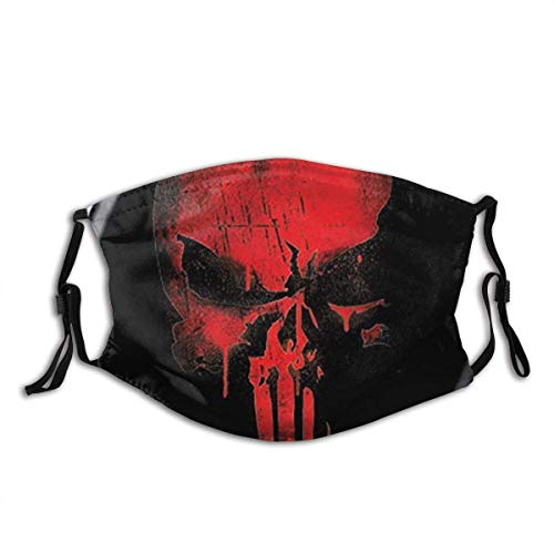 Punisher Skull Red On Black Marvel Comics - Protector facial con filtro reemplazable de carbón activado, suave, transpirable al aire libre/deportes/motor/ciclismo adultos