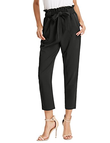 GRACE KARIN Women's Casual Slim Fit Elastic Waist Cropped Pants Trousers S Black