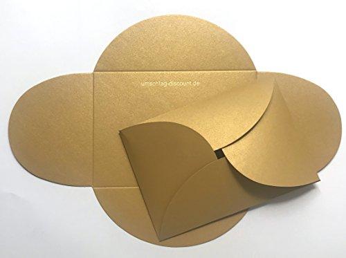 20 goldene Umschläge aus glitzerndem Pearl-Karton, C6 = 162 x 114 mm, z.B. für Einladungen zur Hochzeit, Goldene Hochzeit, Geburtstag
