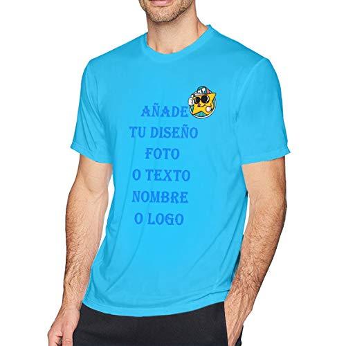 Camiseta de equipación de Manga Corta para Hombre, Personalizadas Tus Texto o Fotos en Camisetas (Azul Claro,XXL)