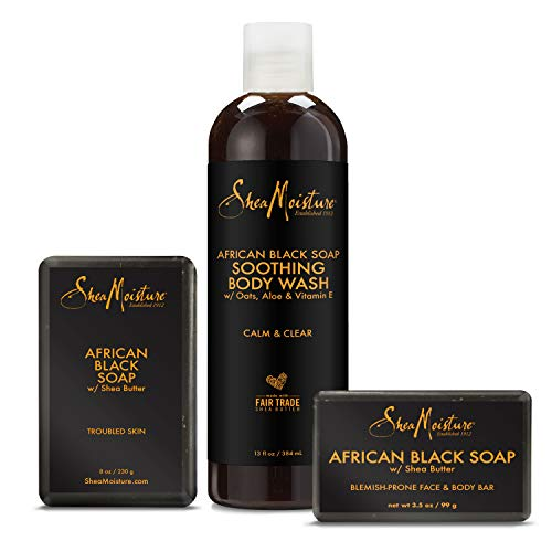 SheaMoisture Bath Face Skin care Kit Body Cleanser for Dull Skin African Black Soap Made with Fair Trade Shea Butter, Aloe Vera, 3 Count