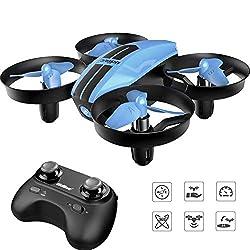 SANROCK U46 Mini Drohne für Kinder und Anfänger, RC Drone mit Blaue LED, Quadrocopter Mini Helikopter mit Höhehalten, Kopflos Modus, 3D Flips und 3 Geschwindigkeitsmodi, Farbe bla