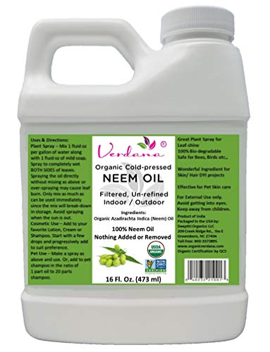 Verdana USDA Organic Cold Pressed Neem Oil 16 Fl. Oz - Non GMO Certified - Unrefined - High Azadirachtin Content - 100% Neem Oil, Nothing Added or Removed - Leafshine, Pet Care, Skin Care, Hair Care