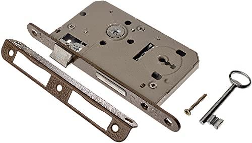 ADGO Jania Schlüsseltürschloss mit Hebel 60/50 mm Einsteckschloss Ratschenschloss, Universalschloss (Links oder Rechts)