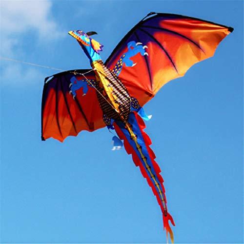 Wankd Kinderdrachen Bunt 3D Kinder Drachen Kite 120 * 140cm Long Tail lebensechte Dinosaurier Kite Spielzeug 100m Einzellinie mit Schwanz Outdoor Erwachsene Kinder Aktivitäten Spiele Spielzeug