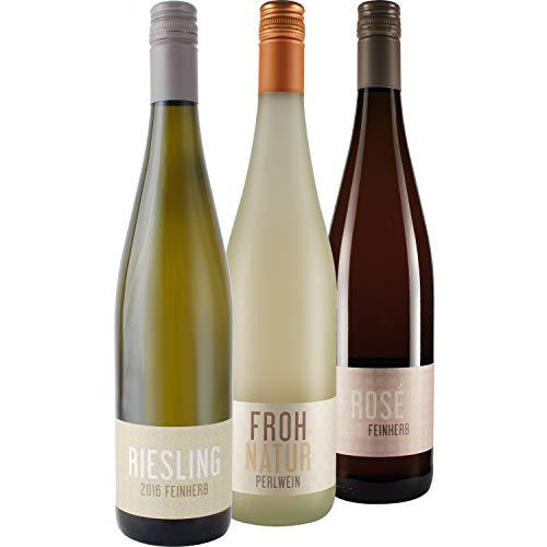 """Nehrbaß - 3er Wein Set """"Mädelsabend"""" 3 x 0,75 Liter aus: 1 x Frohnatur 2019 Perlwein trocken, 1 x Riesling 2018 Weißwein feinherb, 1 x Dornfelder 2019 Roséwein feinherb - Aus Deutschland (Rheinhessen)"""