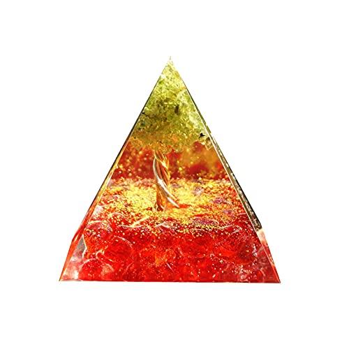 LIWENQUAN 生命の木のオルゴンピラミッドエネルギーチャクラレイキメディタイトンツールペリドットと赤いクリスタルオゴン
