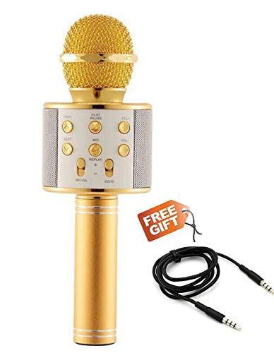 Paramits WS-858 Wireless Bluetooth Microphone Recording Condenser Handheld Microphone Stand with Bluetooth Speaker Audio Recording for All Android and iOS Devices with Aux (Auxiliary) Audio Cable {Random Colour}