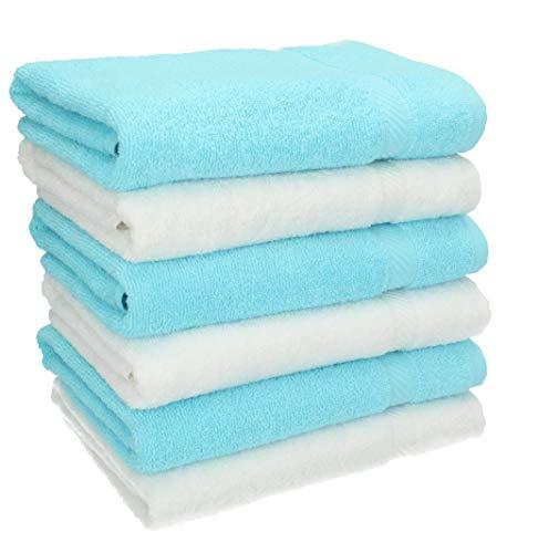BETZ Lot de 10 Serviettes Set de 6 Serviettes de Toilette 50x100 cm 4 Serviettes de Bain 70x140 cm 100/% Coton Palermo Couleur Gris Anthracite et Turquoise