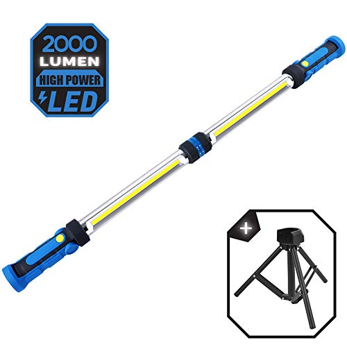 LED Work Light with Tripod Stand, Underhood Work Light Bar, Rechargeable 2000 Lumen Mechanic Light Bar, Car Detailing Light Bar with Magnets and Hooks, for Job Site Lighting, Camping Hunting