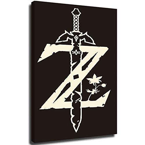 crownee The Legend of Zelda Breath of The Wild Wall Painting Colorful Wall Art Canvas Prints and Posters for Living Room Bedroom Home Decorations, Stretched and Framed 16 x 24 Inch