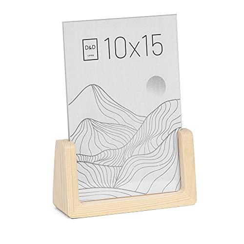 D&D Living Bilderrahmen 10x15 cm aus Holz - Tisch Fotorahmen zum Aufstellen   natur   hoch & quer
