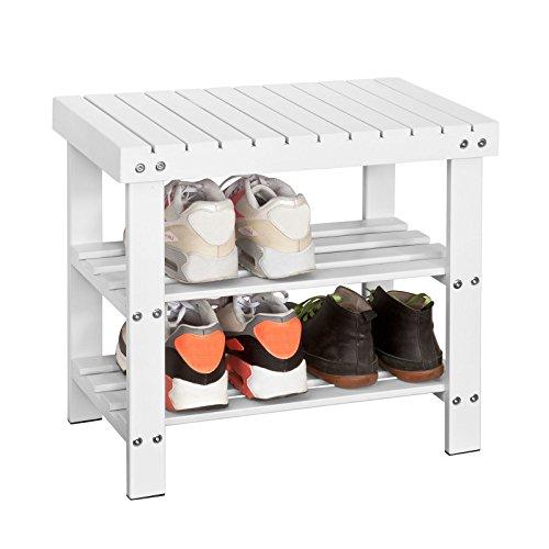 SoBuy® Zapatero, estantería para Zapatos de bambú 2 años de garantía, FSR02-K-W, ES