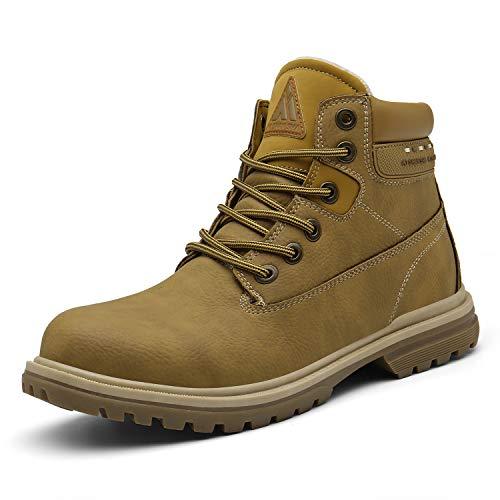 Mens Womens Winter Snow Boots Waterproof Warm Fur Outdoor Non-Slip Ankle Hiking Booties Khaki 15 Women/13.5 Men