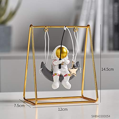 Estatuas de astronauta de resina de estilo moderno con escultura lunar miniaturas decorativas regalo para marido y amigo (color : pesca de estrellas)