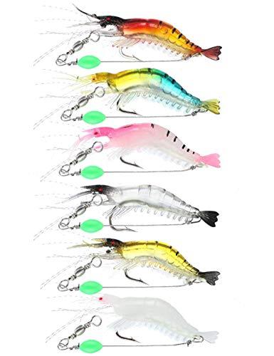 Facikono Saltwater Shrimp Fishing Lures Set, Luminous Soft Plastic Swimbait Shrimp Rig Tackle for Bass, Trout, Flounder, Redfish