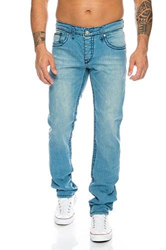 Rock Creek Herren Designer Jeans Hose Dicke Nähte Gelb Vintage Herrenjeans Stonewashed Regular Fit Used Look H-118 Hellblau W29 L34