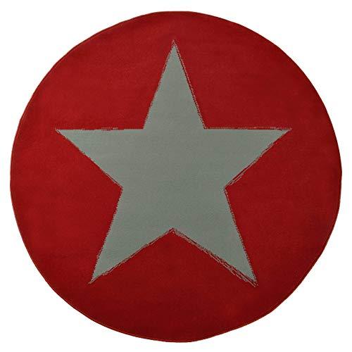 HANSE Home Design Velours Stern Rund Rot 140 cm Teppich, Polypropylen, 140 x 140 x 0.9 cm