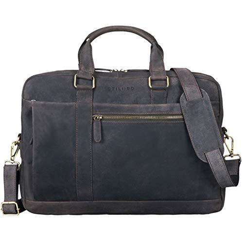 STILORD 'Nico' Large Shoulder Bag Leather Men Women XL Laptop Bag 15.6 inches/College Bag/Portfolio/Shoulder Bag/Satchel/Business Bag Genuine Leather, Colour:Dark - Brown